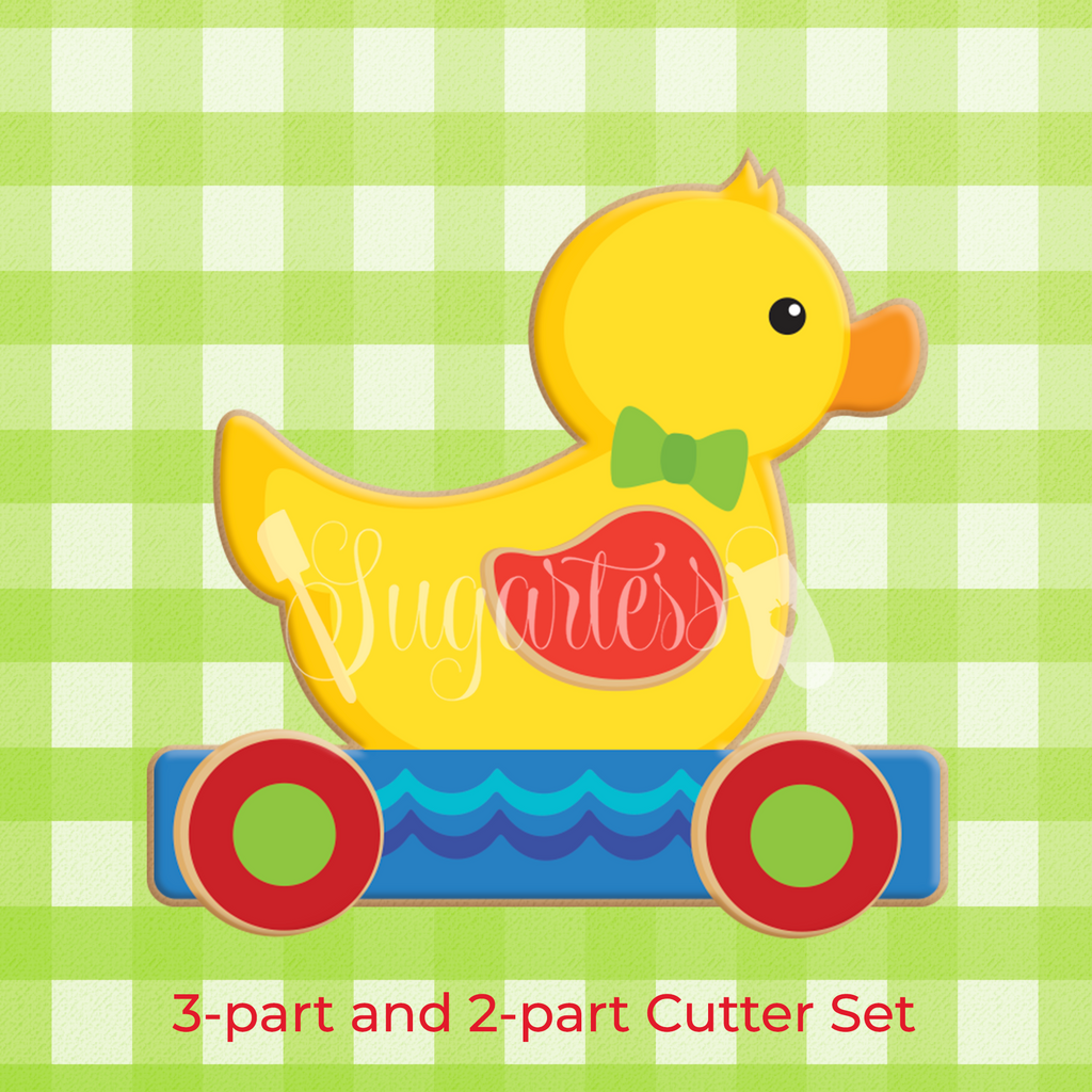 Sugartess custom 3-D baby cookie cutter set in shape of pull along boy toy duck.