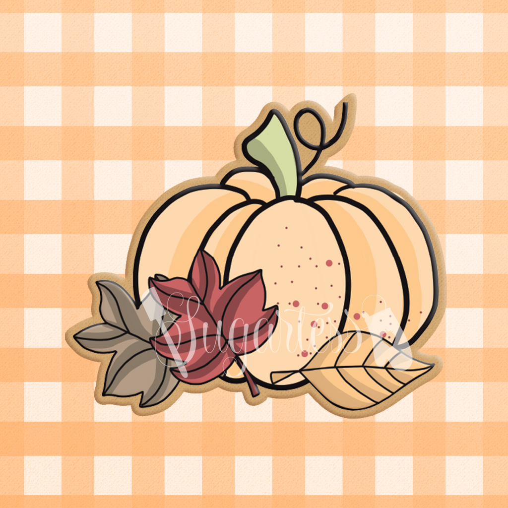 Fall Pumpkin with Autumn Leaves