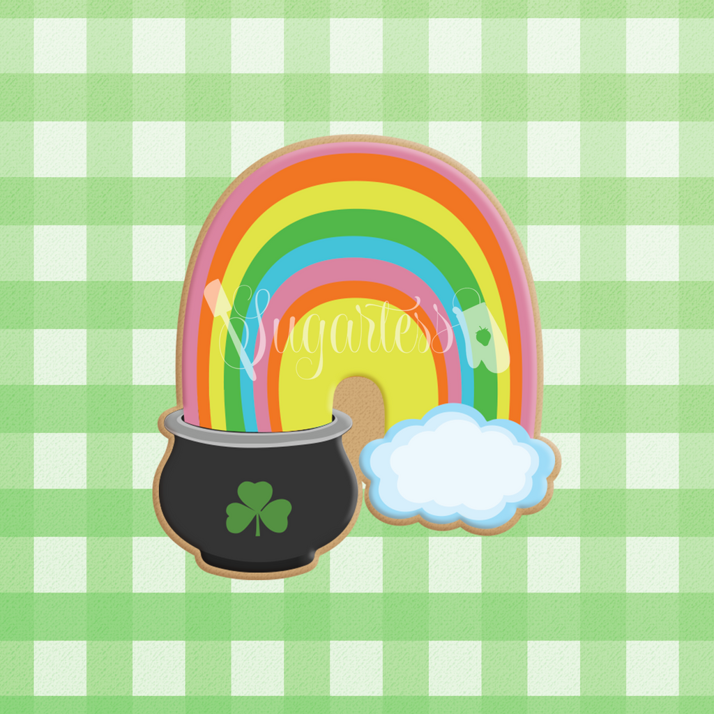 Sugartess custom cookie cutter in shape of St. Patrick's Chubby Rainbow with Pot of Gold and Cloud.