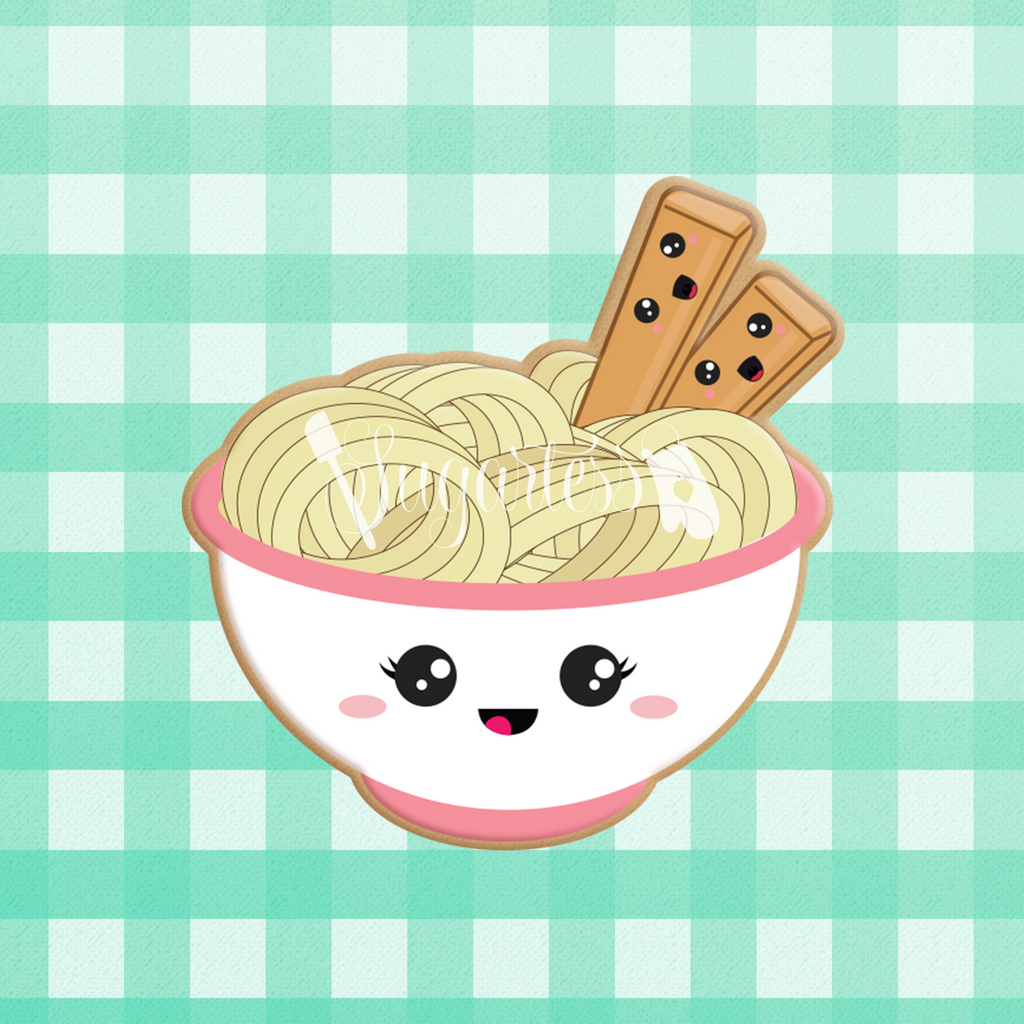 Sugartess custom cookie cutter in shape of kawaii ramen noodle bowl and chopsticks perfect pair.