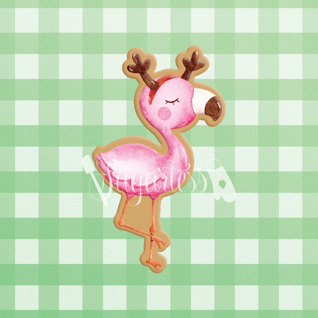 Sugartess custom cookie cutter in shape of holiday flamingo with reindeer antlers headband