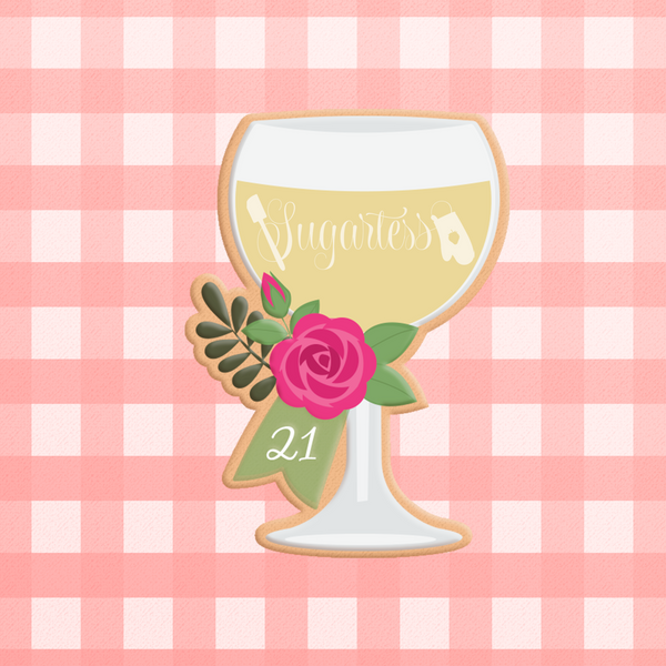 Sugartess custom cookie cutter in shape of wine glass decorated with rose and ribbon for anniversary date or age number.