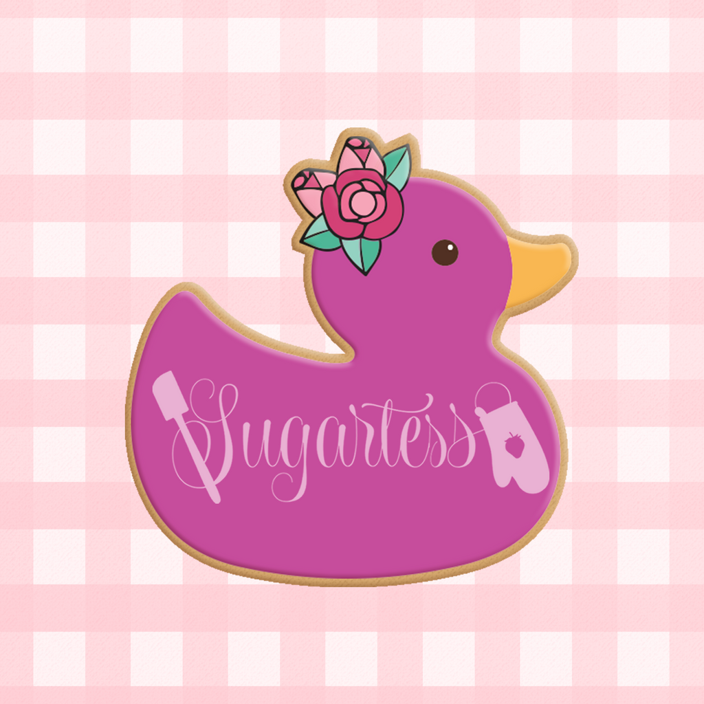 Sugartess custom cookie cutter in shape of baby floral rubber duck toy.