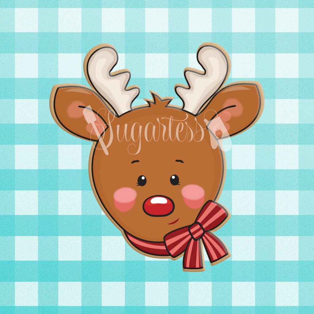 Sugartess custom holiday cookie cutter of Rudolph reindeer head with neck bow.