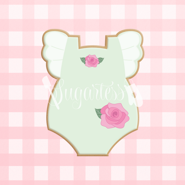 Sugartess custom cookie cutter in shape of a baby girl onesie with ruffled sleeves.