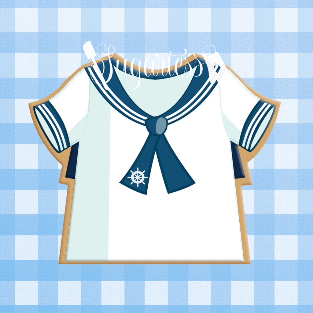 Sugartess custom cookie cutter in shape of sailor's marine shirt.