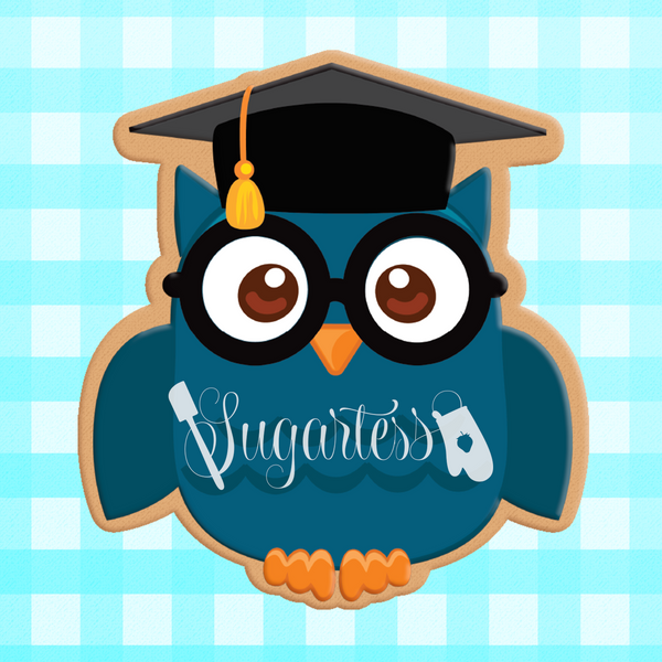 Sugartess custom cookie cutter in shape of school graduate owl.