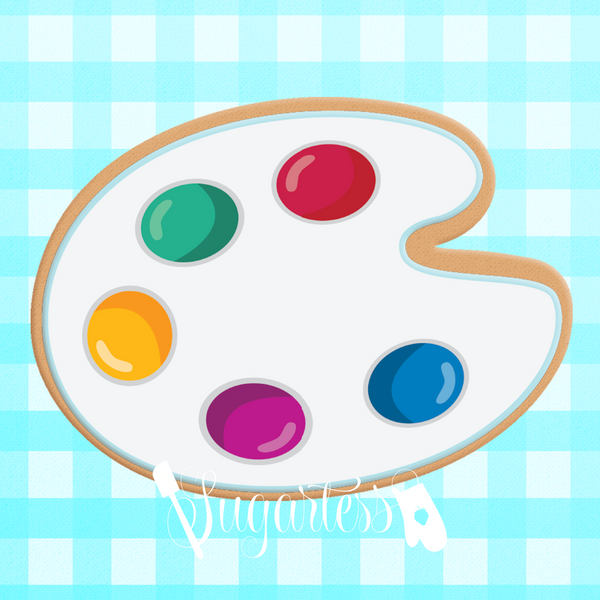 Sugartess custom cookie cutter in shape of school art paint palette.