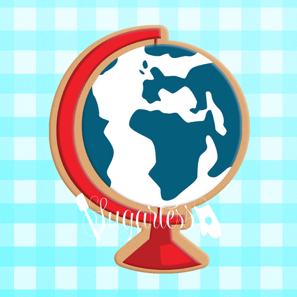Sugartess custom cookie cutter in shape of school world globe.