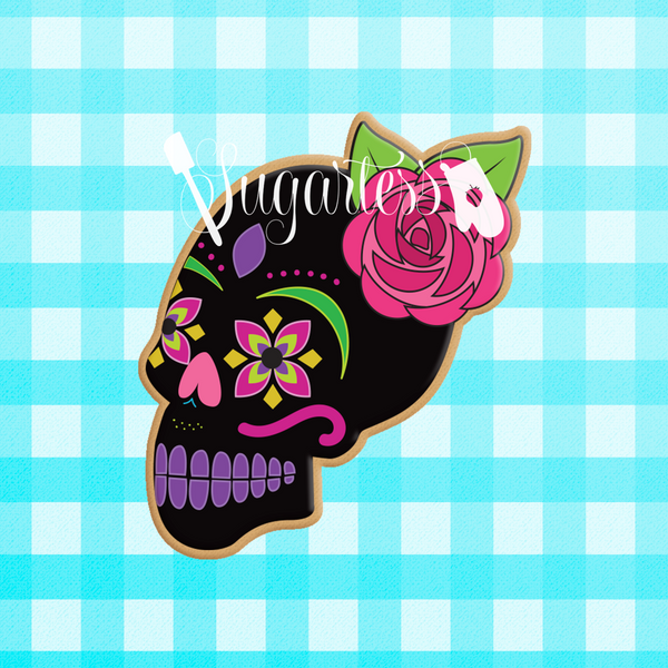 Sugartess custom cookie cutter in shape of the side view of a floral skull with single rose.