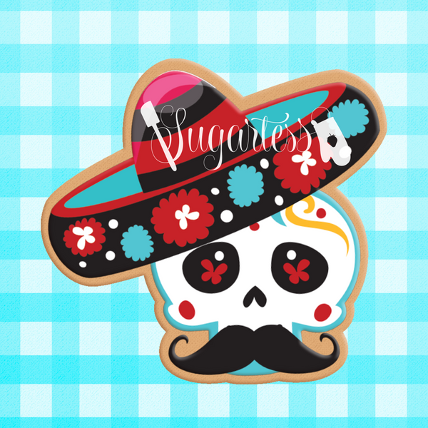 Sugartess cutom cookie cutter in shape of Mexican skull with sombrero.