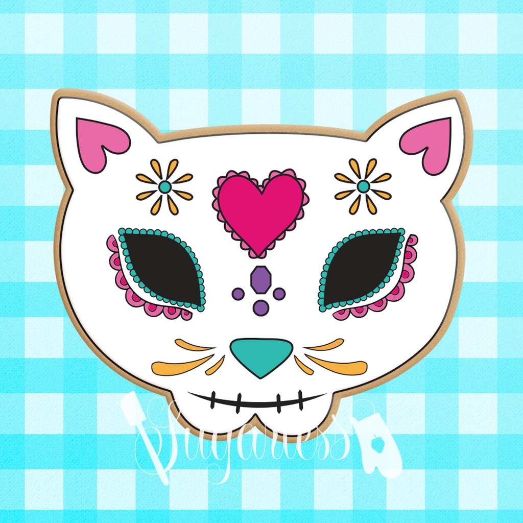 Sugartess custom cookie cutter in shape of Mexican cat skull.