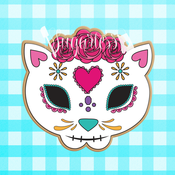 Sugartess custom cookie cutter in shape of a floral Mexican cat skull.