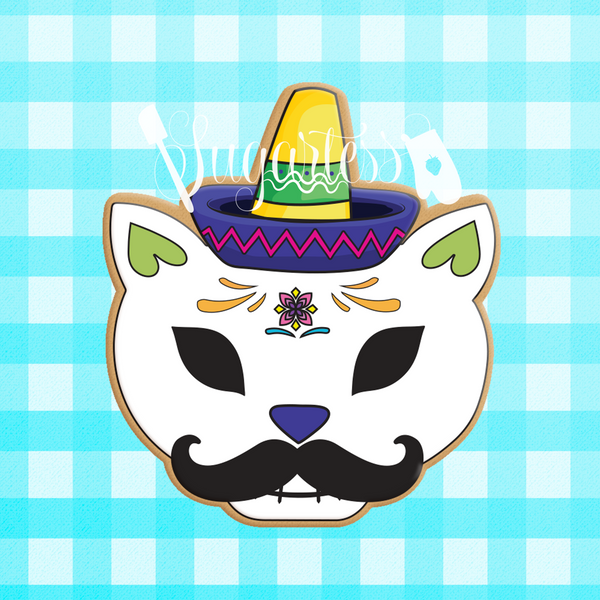 Sugartess custom cookie cutter in shape of Mexican cat skull with sombrero and mustache.