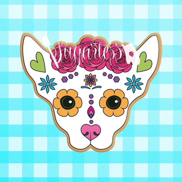 Sugartess custom cookie cutter in shape of floral Mexican chihuahua dog skull.