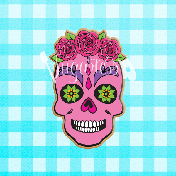 Sugartess custom cookie cutter in shape of a rose floral skull with rose crown.