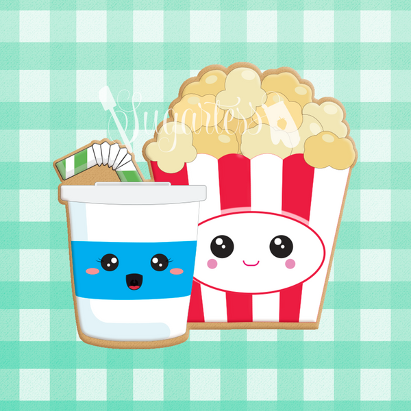Sugartess custom cookie cutter in shape of kawaii popcorn and soda cup with straw perfect pair.