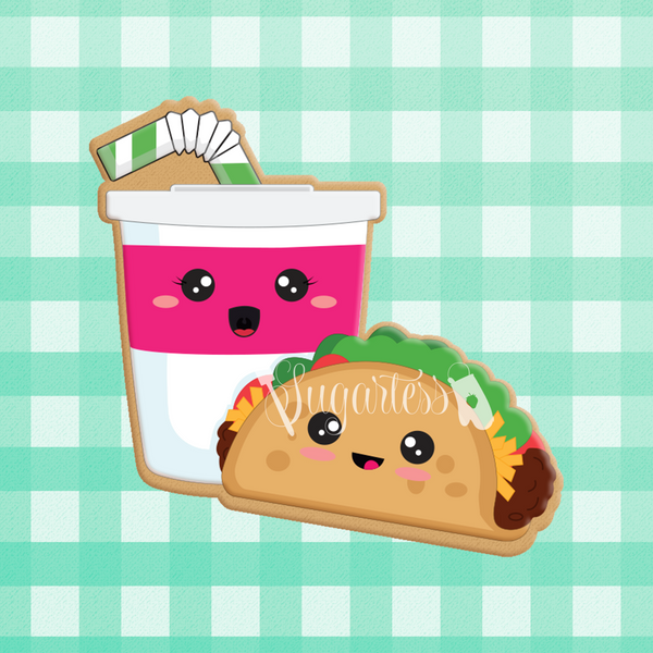 Sugartess custom cookie cutter in shape of kawaii taco and soda cup with straw perfect pair.