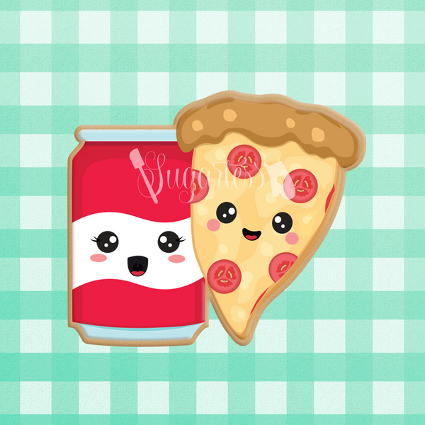 Sugartess custom cookie cutter in shape of kawaii soda can and pizza slice perfect pair.