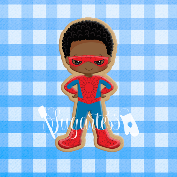 Sugartess custom cookie cutter in shape of African American Spider Boy superhero.