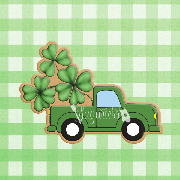 Sugartess custom cookie cutter in shape of classic pickup truck with transporting shamrocks.