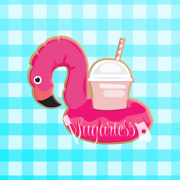 Sugartess custom cookie cutter in shape of Flamingo Drink Cup Float Holder