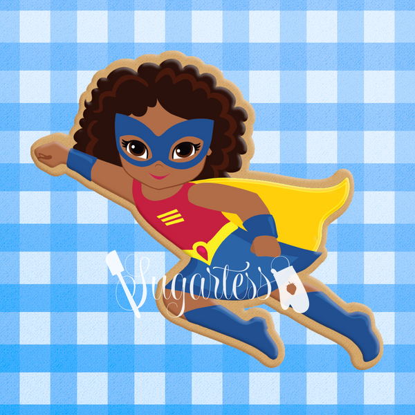 Sugartess Custom Cookie Cutter in shape of African American Super Hero Girl Flying Cookie Cutter or Multicultural Super Hero Girl