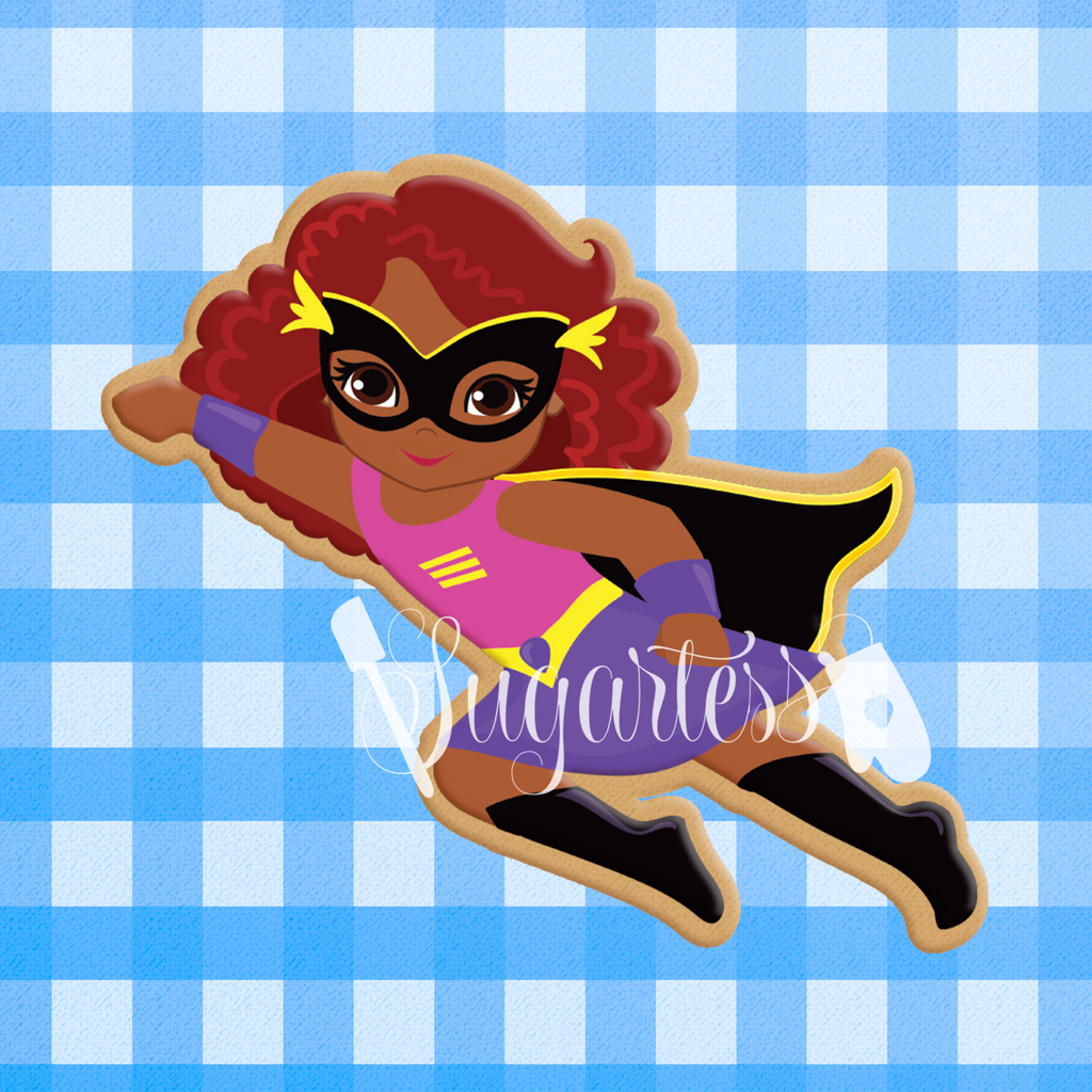 Sugartess Custom Cookie Cutter in shape of African American Super Girl Flying or Multicultural Super Hero Girl