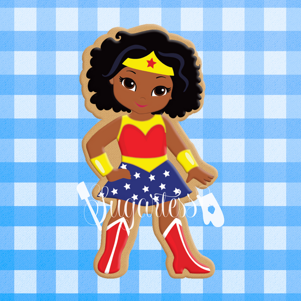 Sugartess custom cookie cutter in shape of African American or Multicultural Super Hero Girl.