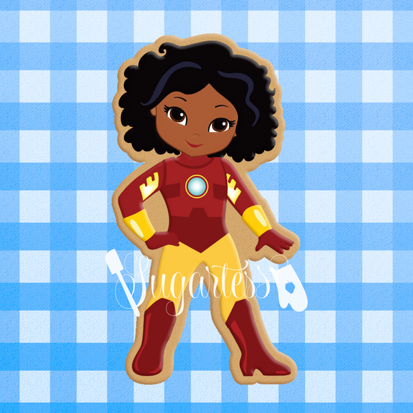 Sugartess Custom Cookie Cutter in shape of African American or Multicultural Super Hero Girl