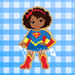 Sugartess Custom Cookie Cutter in shape of African American Super Girl with Cape or Multicultural Super Hero Girl with Cape