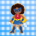 African American Super Girl with Cape #1 | Multicultural Superhero Girl
