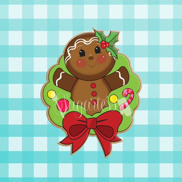 Sugartess custom holiday cookie cutter in shape of a gingerbread man popping out of a wreath.