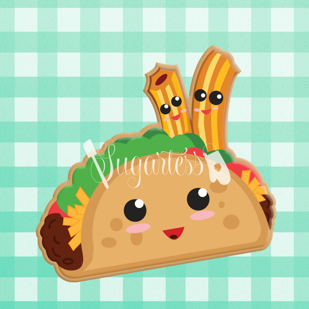 Sugartess custom cookie cutter in shape of kawaii taco and churros perfect pair.