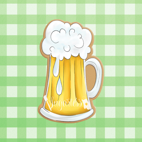 Sugartess custom cookie cutter in shape of tall beer mug.