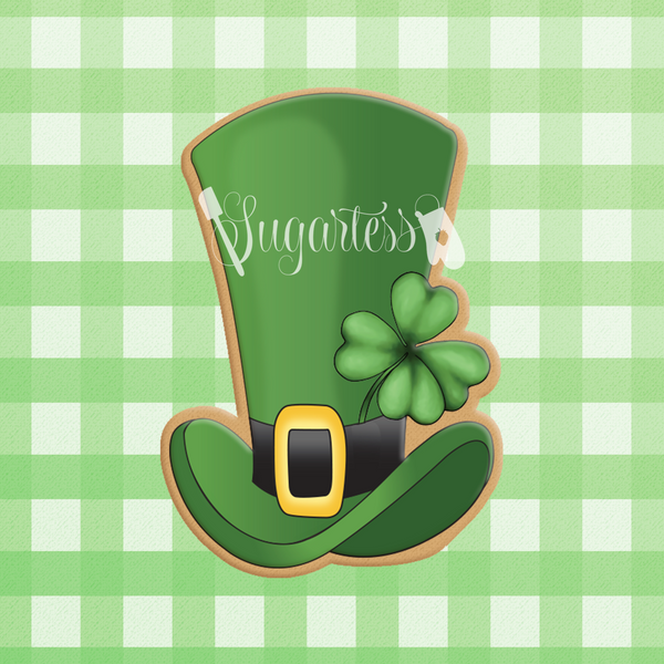 Sugartess custom cookie cutter in shape of tall leprechaun hat with shamrock.