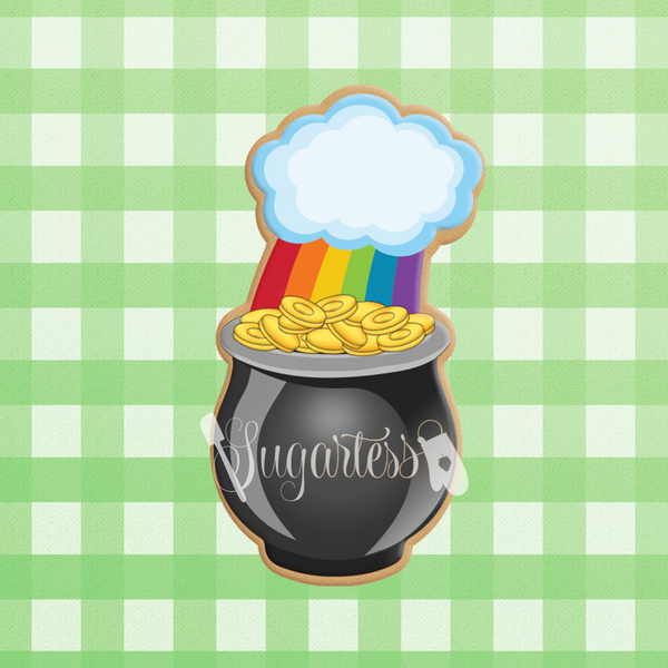 Sugartess custom cookie cutter in shape of pot of gold with rainbow cloud.