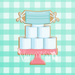 Sugartess custom cookie cutter in shape of Toilet Paper 3-tier Cake on Stand with Face Mask Banner.