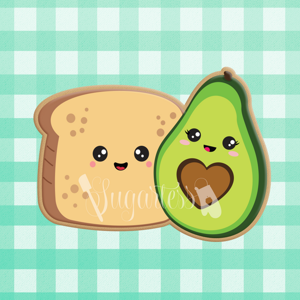 Sugartess custom cookie cutter in shape of kawaii bread toast and half avocado perfect pair.