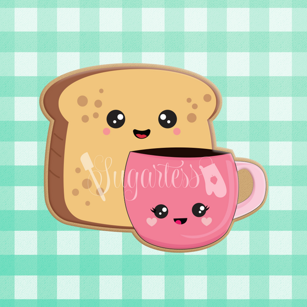 Sugartess custom cookie cutter in shape of kawaii bread toast and coffee cup perfect pair.