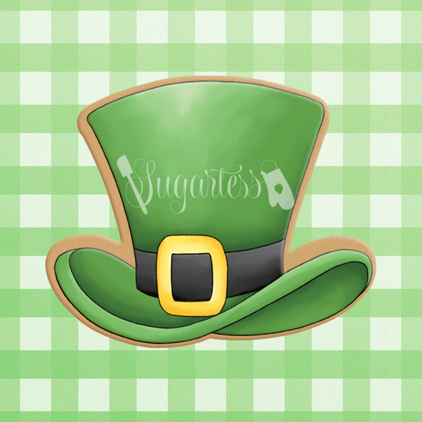 Sugartess custom cookie cutter in shape of leprechaun hat.