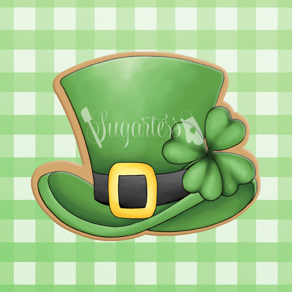 Sugartess custom cookie cutter in shape of leprechaun hat with shamrock.