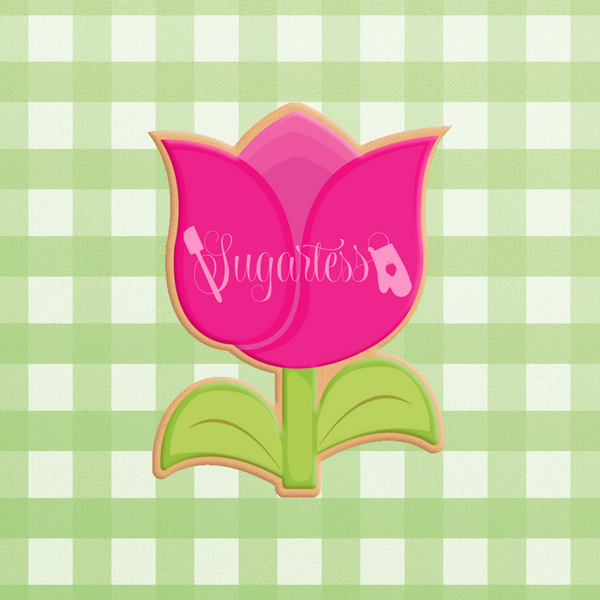 Sugartess custom cookie cutter in shape of chubby cartoon tulip flower with leaves.