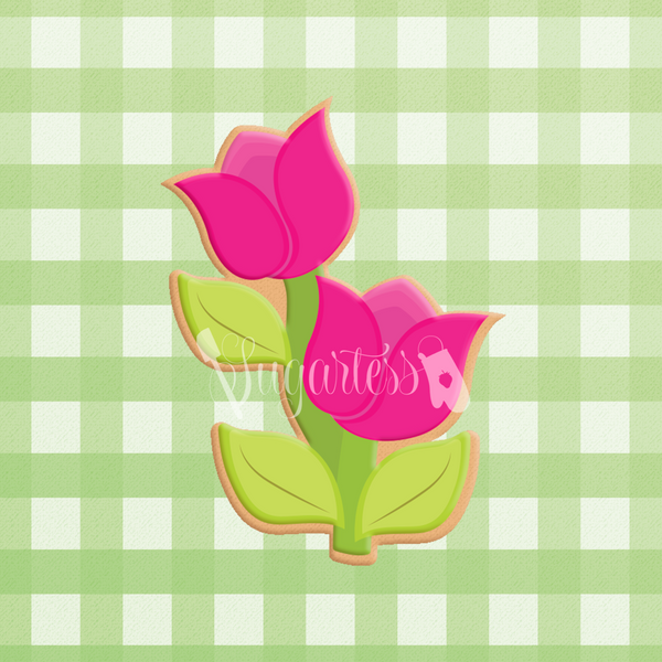 Sugartess custom cookie cutter in shape of two chubby cartoon tulip flowers with leaves.