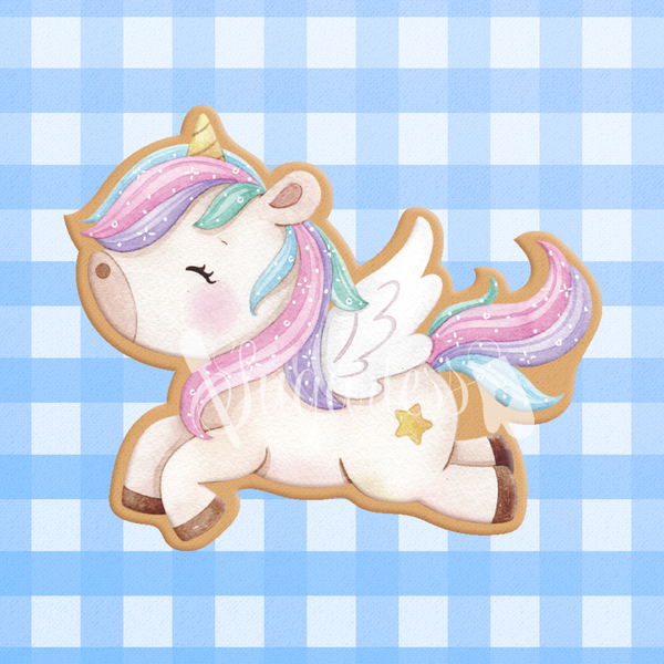 Sugartess custom cookie cutter in shape of flying unicorn,