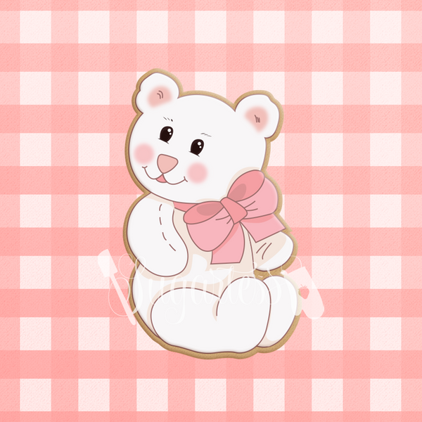 Sugartess custom cookie cutter in shape of a white teddy bear with large neck bow.