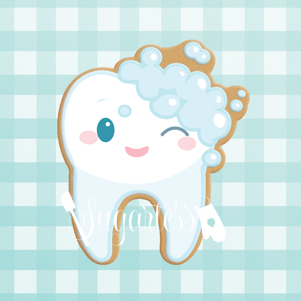 Sugartess custom cookie cutter in shape of kawaii cartoon tooth with toothpaste bubbles.