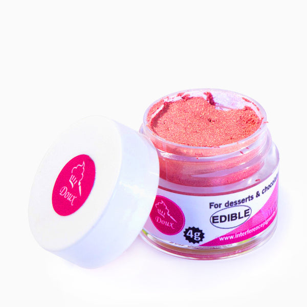 "Doux powdered edible color pigments for cookies, cakes, chocolate, macaron, candy, jelly, and other desserts! Product shown is ""Rose Gold"". FDA approved."