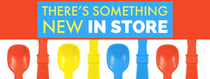 red yellow and blue spoons and text that says there's something new in store