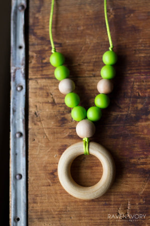 Wood and Silicon Necklace by Chompy Chic